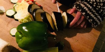 preparing evening meal